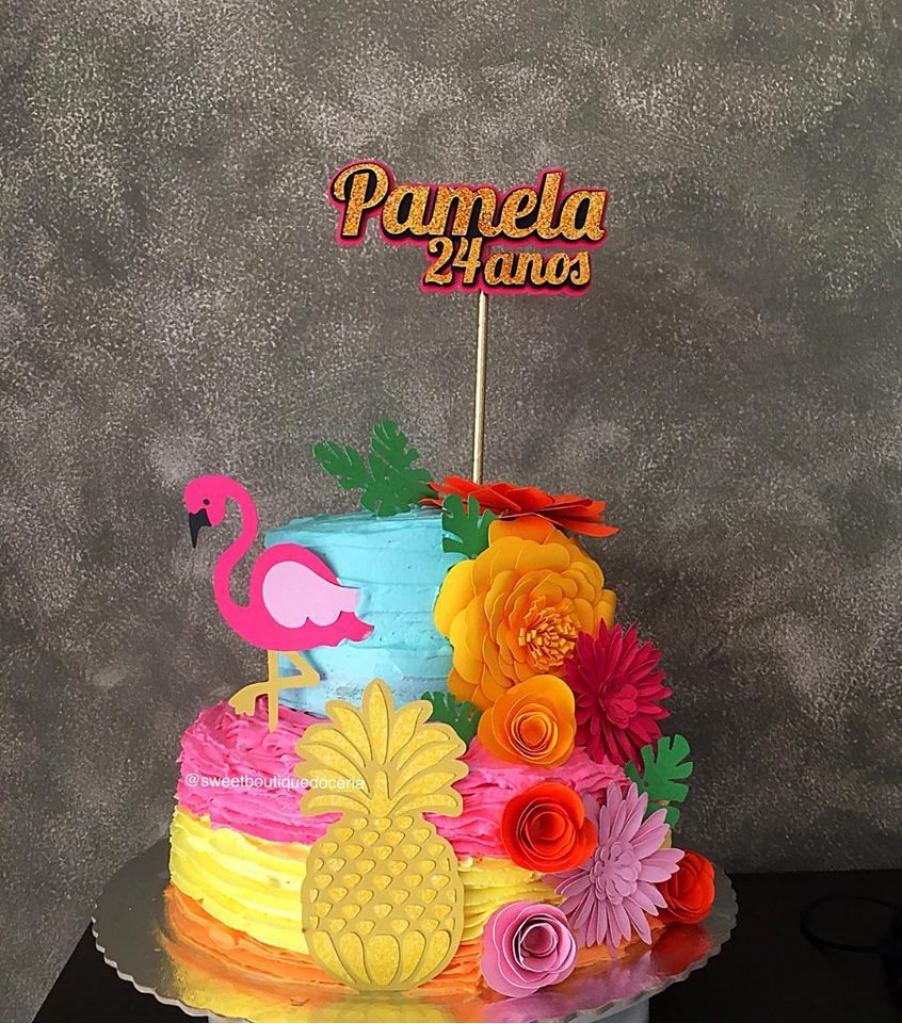 Nuvem de algodão personalizados - Topo de bolo Flamingo 3d