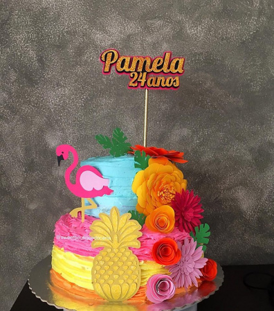 Topo de bolo Flamingo 3d-Topo de bolo Flamingo luxo com flores  - Papel fotográfico glossy 230g - Acompanham os palitos