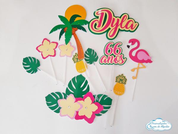 Topo de bolo Flamingo tropical-Topo de bolo Flamingo tropical  - Nos informe os dados para personalização após pagamento. - P