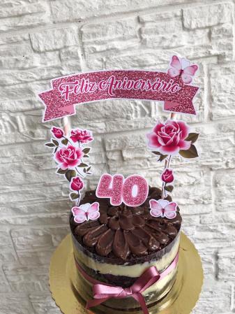 Topo de bolo Flores rosa-Topo de bolo Flores rosa  - Papel fotográfico glossy 230g - Acompanham os palitos