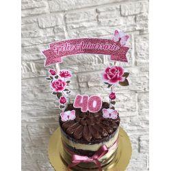 Topo de bolo Flores rosa