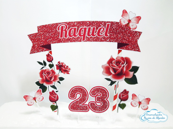 Topo de bolo Flores vermelho-Topo de bolo Flores vermelho  - Papel fotográfico glossy 230g - Acompanham os palitos