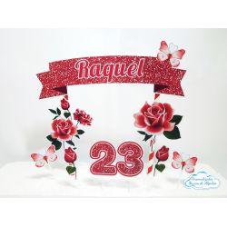 Topo de bolo Flores vermelho