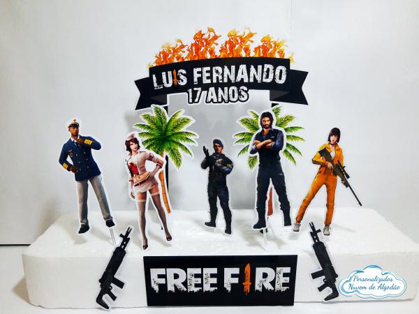 Topo de bolo Free Fire-Topo de bolo Free Fire  - Papel fotográfico glossy 230g - Acompanham os palitos