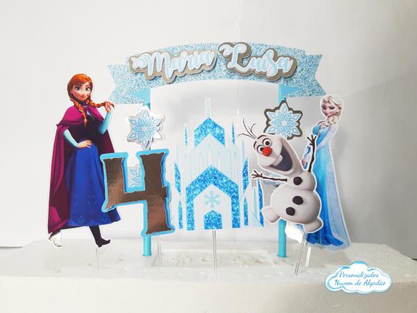 Topo de Bolo Frozen-Topo de Bolo Frozen  - Papel fotográfico glossy 230g - Acompanham os palitos - Detalhes em prat