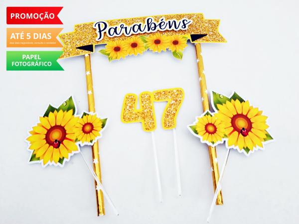 Topo de bolo Girassol-Topo de bolo Girassol  - Papel fotográfico glossy 230g  - Acompanham os palitos