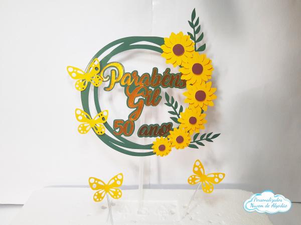 Topo de bolo Girassol luxo-Topo de bolo Girassol  - Papel fotográfico glossy 230g  - Acompanham os palitos - detalhes em d