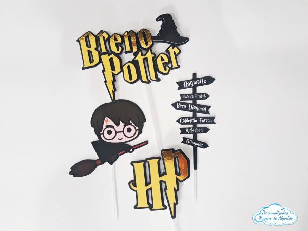 Topo de bolo Harry Potter cute-Topo de bolo Harry Potter HP  - Nos informe os dados para personalização após pagamento. - Pap