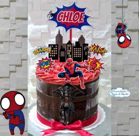 Topo de bolo Homem Aranha prédios-Topo de bolo Homem Aranha prédios  - Papel fotográfico glossy 230g  - Acompanham os palitos