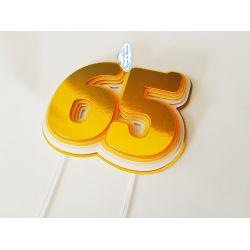 Topo de bolo Idade em camadas - dourado