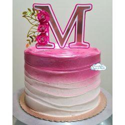 Topo de bolo Inicial com 3 mini rosas - rosé