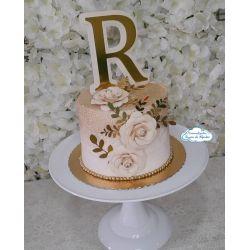 Topo de bolo Inicial com 3 rosas