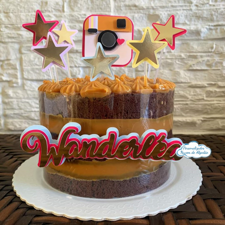 Topo de bolo instagram-Topo de bolo instagram  - Nos informe os dados para personalização após pagamento. - Papel fot