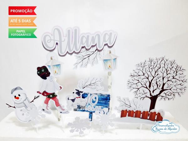 Topo de bolo Inverno-Topo de bolo Inverno  - Papel fotográfico glossy 230g  - Acompanham os palitos