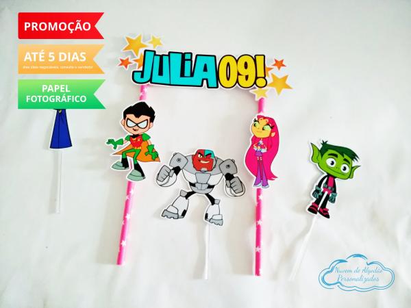 Topo de bolo Jovens Titãs-Topo de bolo  Jovens Titãs  - Papel fotográfico glossy 230g  - Acompanham os palitos
