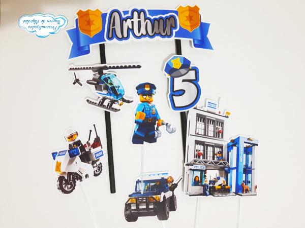 Topo de bolo Lego polícia-Topo de bolo Lego polícia  - Nos informe os dados para personalização após pagamento. - Papel