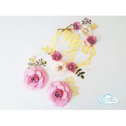 Topo de bolo luxo floral
