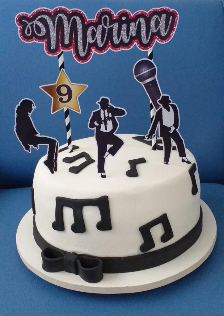 Nuvem de algodão personalizados - Topo de bolo Michael Jackson