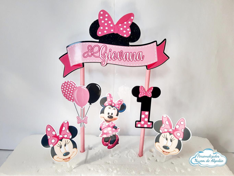 Nuvem de algodão personalizados - Topo de bolo Minnie Rosa