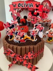 Topo de bolo Minnie vermelha-Topo de bolo Minnie vermelha  - Papel fotográfico glossy 230g  - Acompanham os palitos