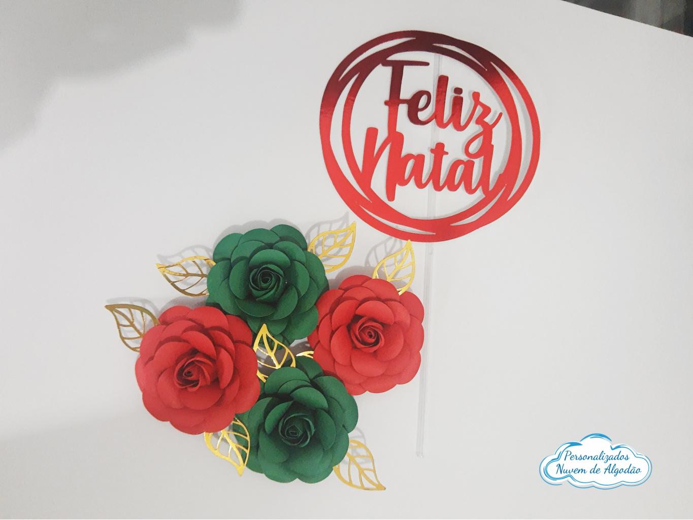 Nuvem de algodão personalizados - Topo de bolo Natal com flores