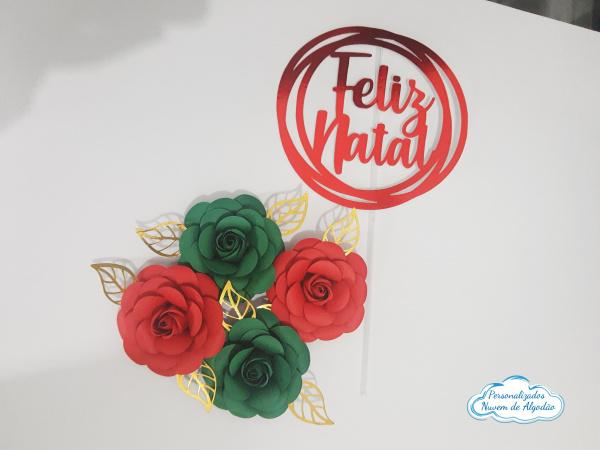 Topo de bolo Natal com flores-Topo de bolo Natal com flores  -  Topo em papel lamicote vermelho com recorte eletrônico -  Acom