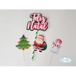 Topo de bolo Natal Papai Noel