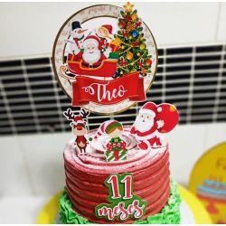 Topo de bolo Natal redondo