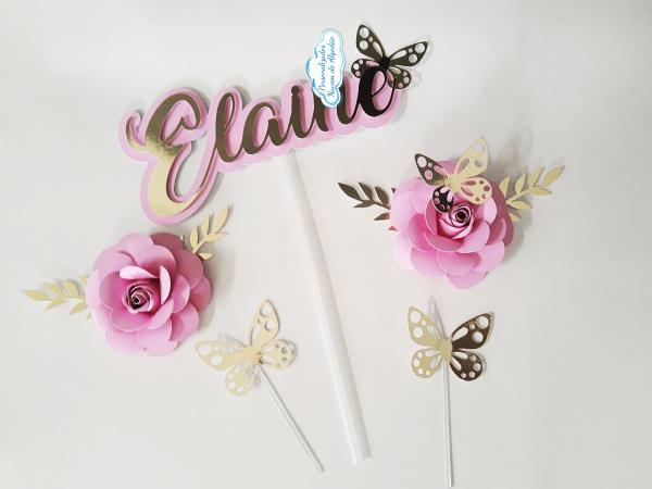 Topo de bolo nome com flores e borboletas-Topo de bolo nome com flores e borboletas  Fazemos em qualquer cor. Nos informe nome para alterar