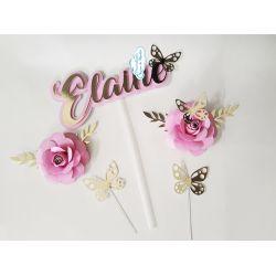 Topo de bolo nome com flores e borboletas