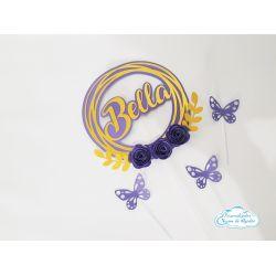 Topo de bolo nome redondo com flores e borboletas