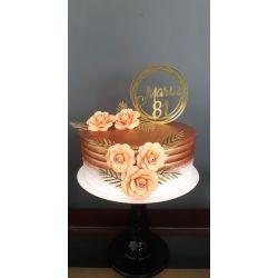 Topo de bolo nome redondo luxo com 5 flores
