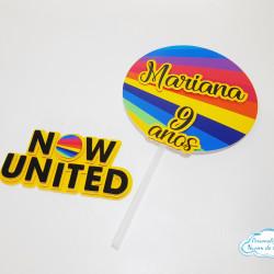 Topo de bolo Now united redondo