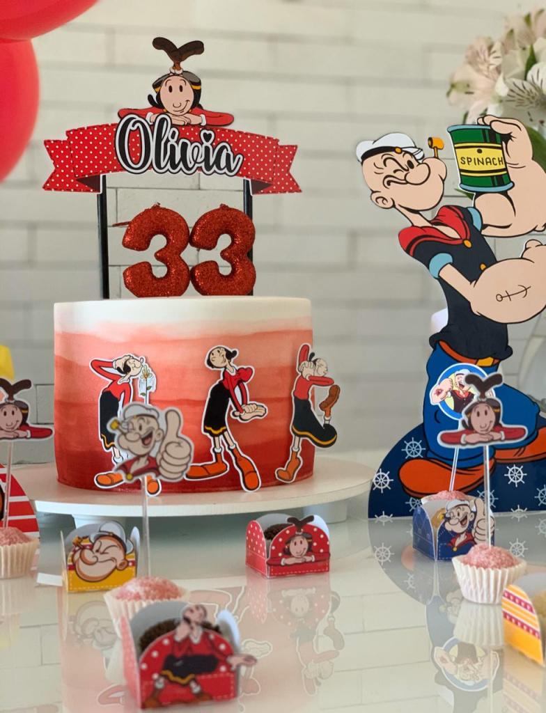 Nuvem de algodão personalizados - Topo de bolo Olivia Palito