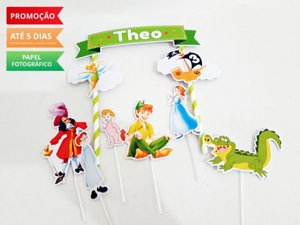 Topo de bolo Peter Pan-Topo de bolo Peter Pan  - Papel fotográfico glossy 230g  - Acompanham os palitos