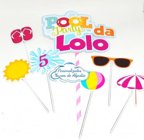 Topo de bolo Pool party-Topo de bolo Pool party  - Papel fotográfico glossy 230g  - Acompanham os palitos