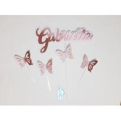 Topo de bolo Rosé gold - borboletas