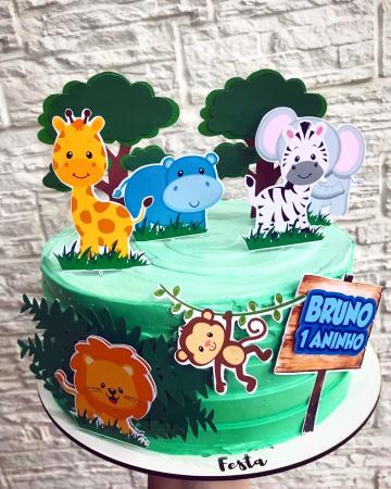 Topo de bolo Safari animais-Topo de bolo Safari animais  - Nos informe os dados para personalização após pagamento. - Pape