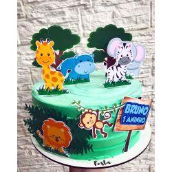 Topo de bolo Safari animais