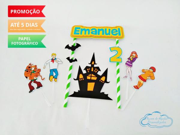 Topo de bolo Scooby Doo-Topo de bolo Scooby Doo  - Papel fotográfico glossy 230g  - Acompanham os palitos