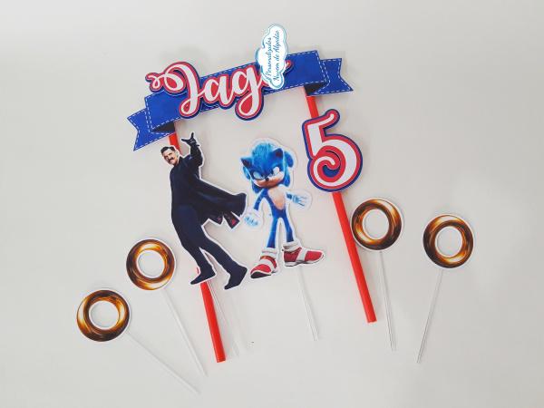 Topo de bolo Sonic filme-Topo de bolo Sonic filme  - Nos informe os dados para personalização após pagamento. - Papel f