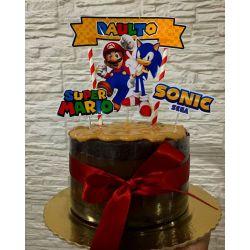 Topo de bolo Sonic Vs Mario