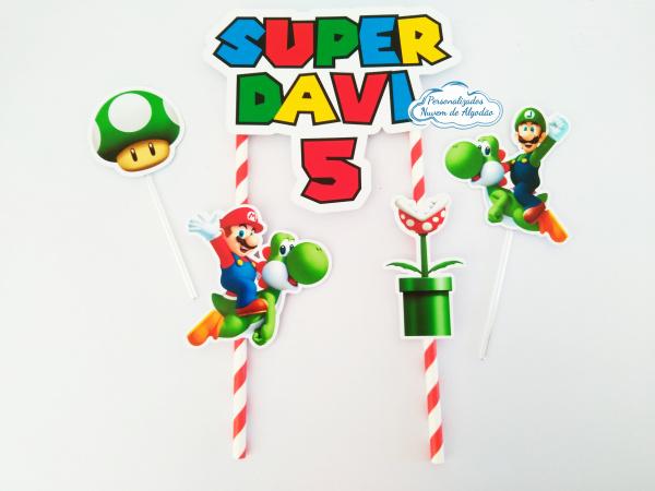 Topo de bolo Super Mario-Topo de bolo Super Mario  - Papel fotográfico glossy 230g  - Acompanham os palitos