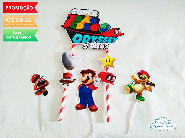Nuvem de algodão personalizados - Topo de bolo Super Mario Odyssey