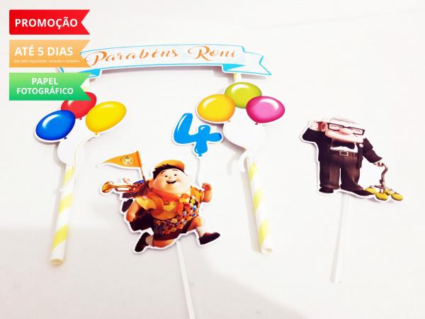 Topo de bolo Up Altas Aventuras-Topo de bolo Up Altas Aventuras  - Papel fotográfico glossy 230g  - Acompanham os palitos