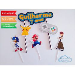 Topo de bolo Video Game