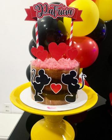 Topo de bolo Dia dos namorados - Mickey e Minnie-Topo de bolo Dia dos namorados - Mickey e Minnie - Papel fotográfico glossy 230g - Acompanham os