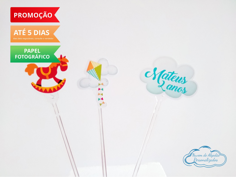 Nuvem de algodão personalizados - Topper de docinho Brinquedos - Cavalo