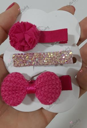 Trio hair clips 5 cm-Trio hair clips rosa pink  Temos várias combinações e modelos.    Por se tratar de um produto