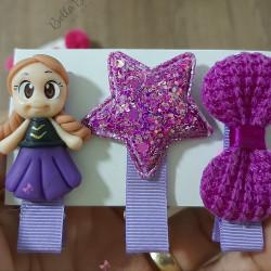 Trio hair clips lilás